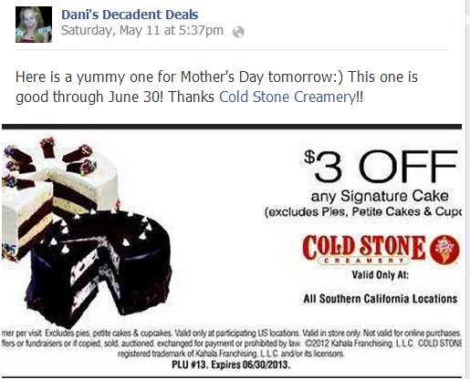 Coldstone Creamery Cake - $3 off through 6-30-13