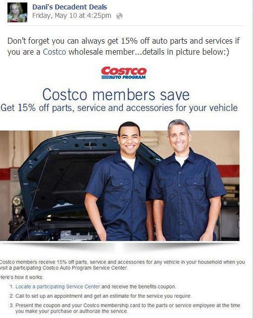 Costco 15% off Auto Services as a Member