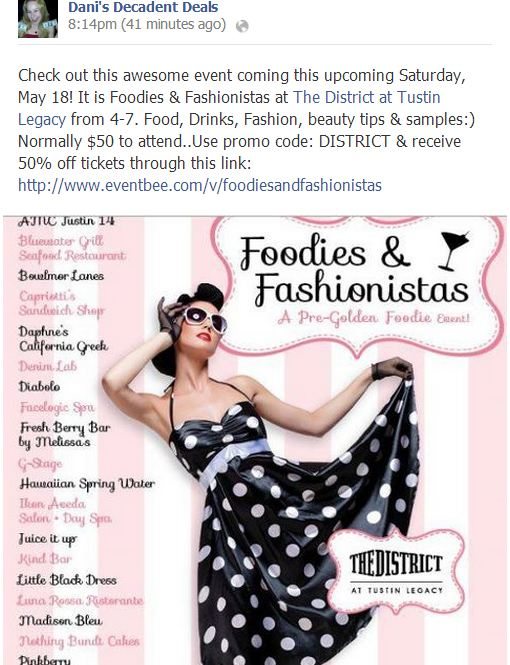 Foodies & Fashionistas - May 18th 4-7 50% off code