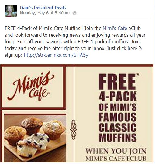 Free Mimi's Cafe Muffins - Who Does not want these