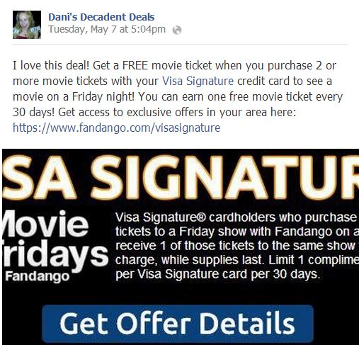 FREE movie Tickets with Visa Signature