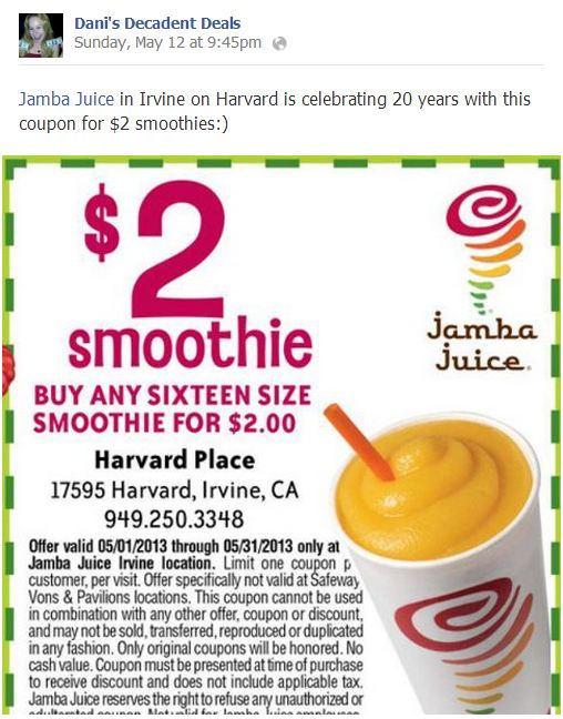 Jamba Juice $2 Smoothie in Irvine celebrating 20 years thru 5-31-13