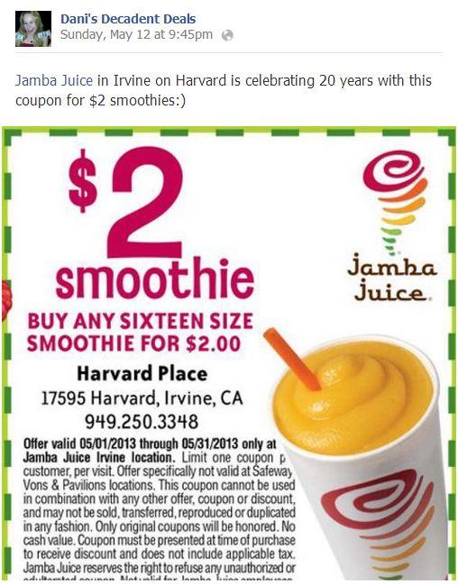 Jamba Juice $2 Smoothie in Irvine celebrating 20 years thru 5-31-13