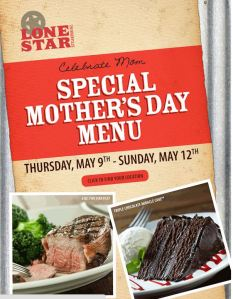 Lonestar Steakhouse Mother's Day Menu