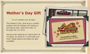 Lucille's BBQ Mother's Day FREE Gift Cards