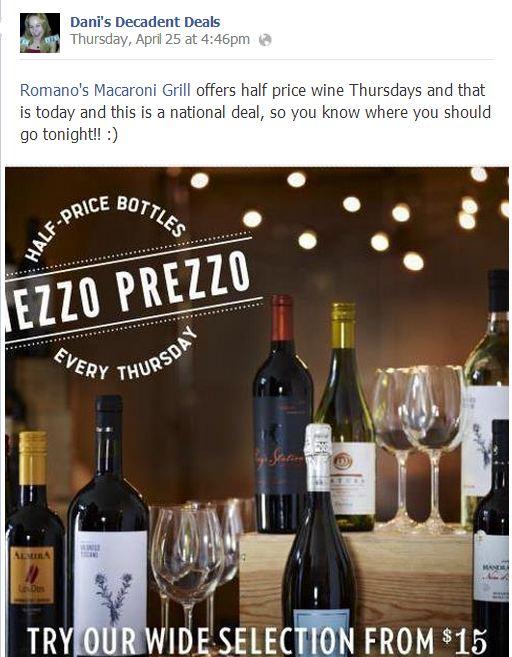 Macaroni Gril half price Wine Thursdays