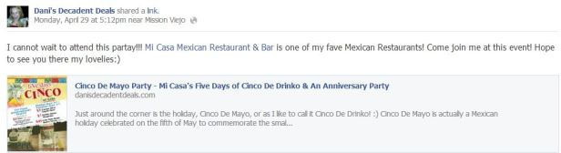 Mi Casa Restaurant & Bar - Cinco De Drinko - Costa Mesa & Rancho Santa Margarita