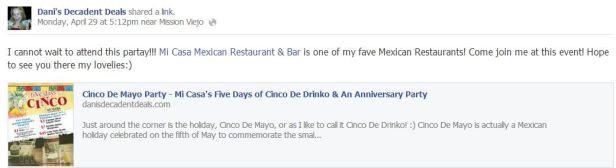 Mi Casa Restaurant & Bar - Cinco De Drinko - Costa Mesa & Rancho Santa Margarita