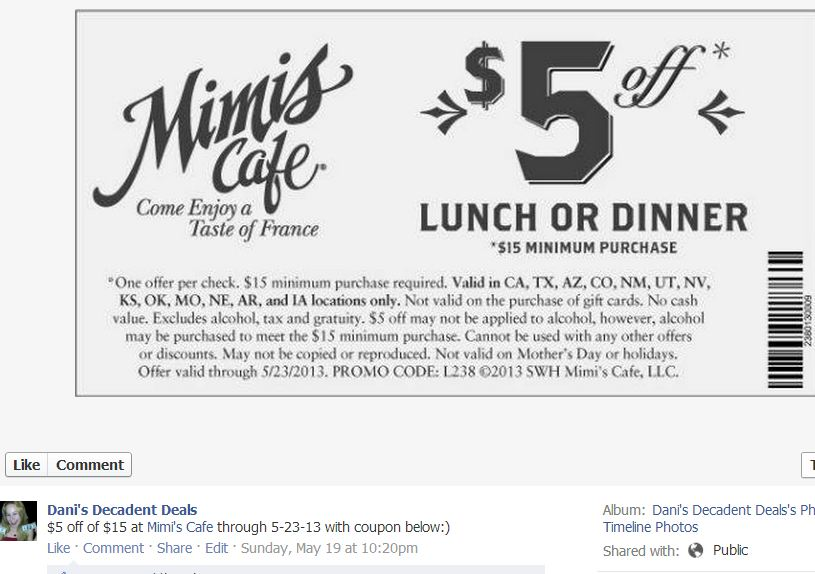 Mimis Cafe Coupon