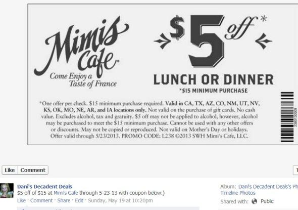 Mimi's Cafe $5 off - 5-23-13