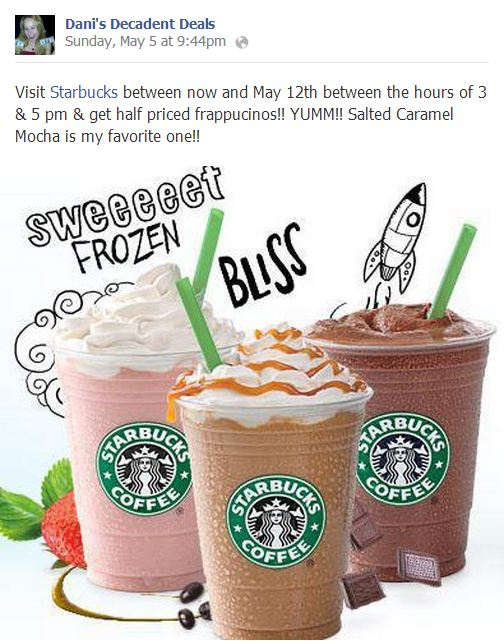 Most popular share of week on my page - Starbucks Fraps BOGO