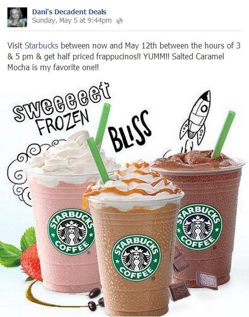 Most popular share of week on my page - Starbucks Fraps BOGO