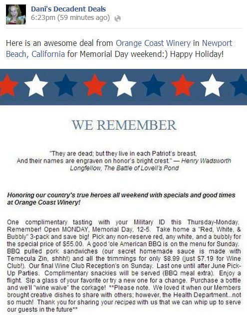 Orange Coast Winery, Newport Beach, CA Memorial Day Special