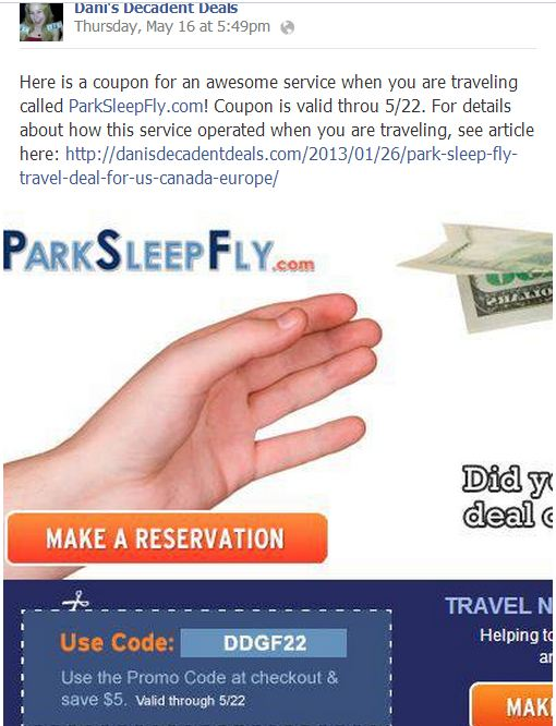 Park Sleep Fly Coupon Good through end of 5-22-13