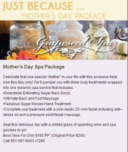 South Coast Winery - Mother's Day Spa Package