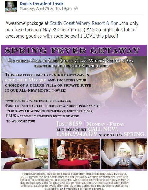 South Coast Winery Room Specials $159 - 5-3-13