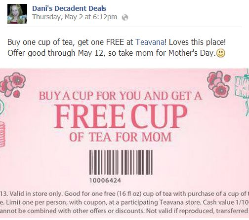 Tevana - free cup of tea through May 12