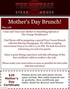Vintage Steakhouse Mother's Day Certificate