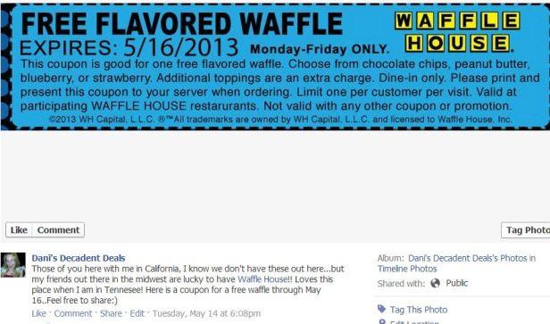 Waffle House Coupon..FREE WAFFLE