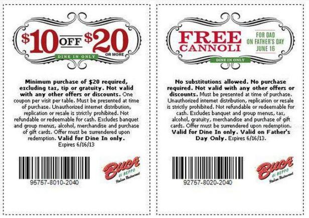 Bucca Di Beppo Coupons good through June 16