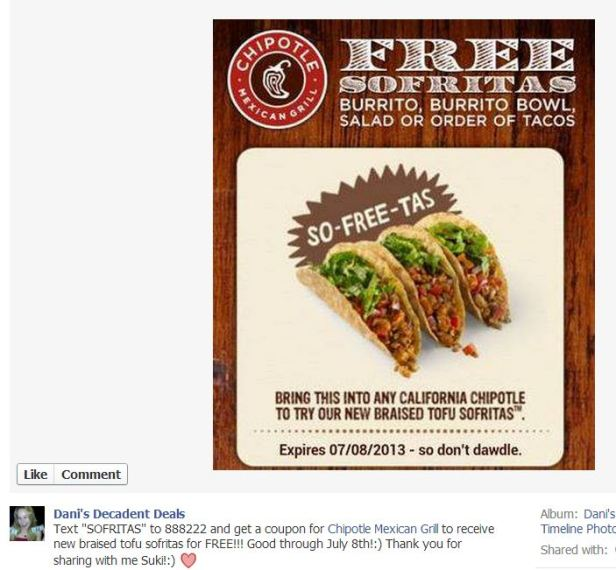Chipotle FREE Tacos with Text thru 7-8