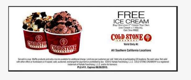 Coldstone Buy one Get one Free thru 6-30