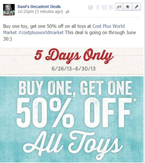 Cost Plus WOrld Market - Buy One Toy Get One 50% off thru 6-30