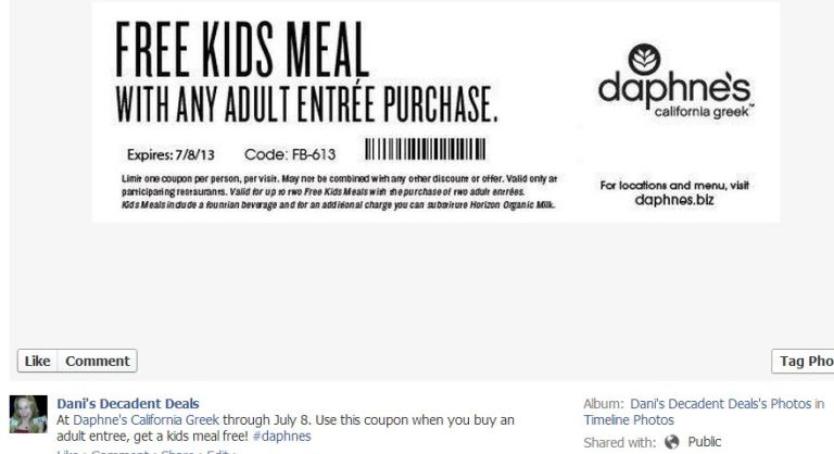Daphne's Greek FREE Kid's Meal with any Adult entree purchase