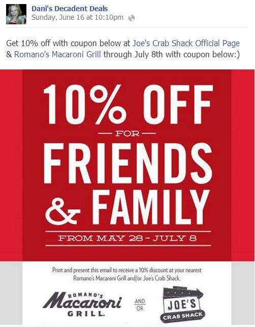 Macaroni Grill And  Joe's Crab SHack 10% off thru7-8
