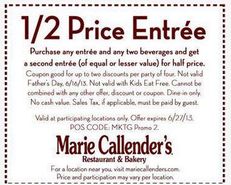Marie Callendar's - Buy 1, get 1 Half price entree