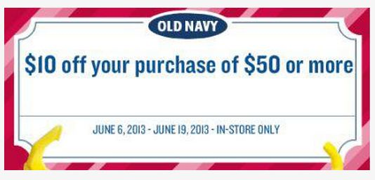Old Navy $10 off of $50 through June 19