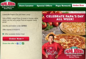Papa John's Buy 1, Get 1 FREE Father's Day Special