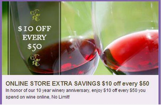 South Coast Winery $10 off of every $50 purchase wine online