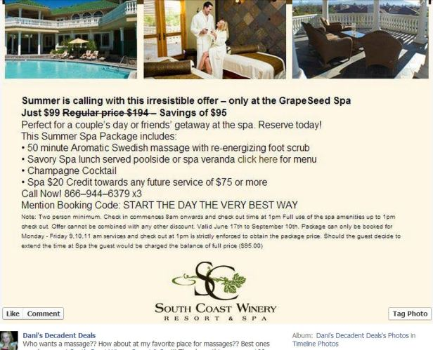 South Coast WInery Summer Massage Special