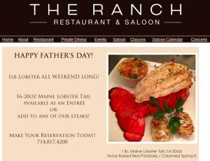 The Ranch Father's Day Lobster Special