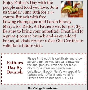 Vintage Steakhouse $5 FREE Father's Day