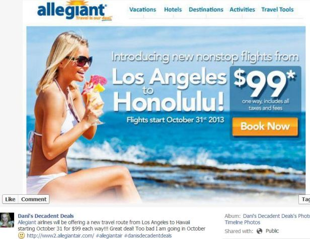 Allegiant Airlines $99 Each Way LA to Honolulu Starting 10-31