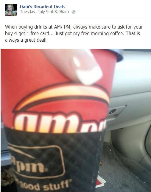 AmPM Buy 4 Get 1 Free Drinks Card