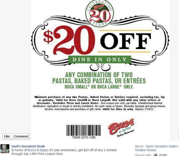 Bucca Di Beppo $20 off through July 14