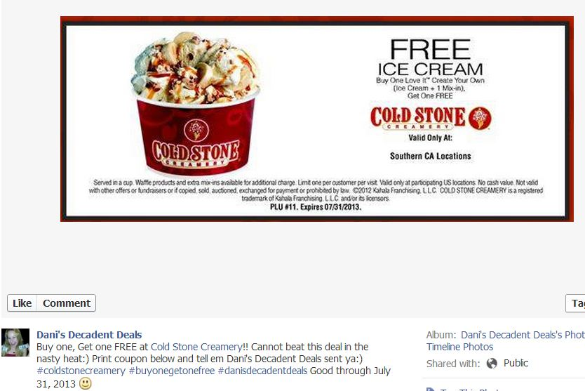image about Cold Stone Printable Coupon identify Supreme Freebies, Specials, Discount codes of the 7 days 7-10-13 Danis