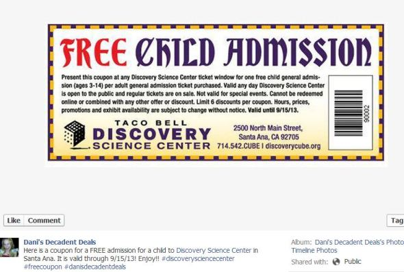 Discovery Science Center Santa Ana - FREE child admission - 9-15-13