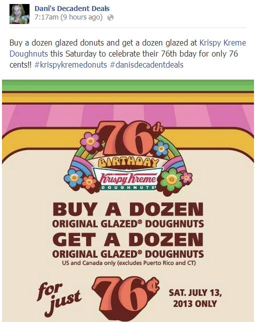 Krispy Kreme Buy A Dozen - Get Dozen for 76 Cents July 13