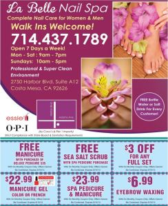 La Belle Nail Spa Coupons Through 9-15-13