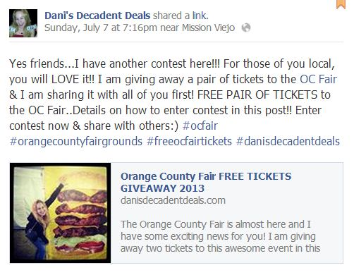OC Fair FREE Tickets Giveaway