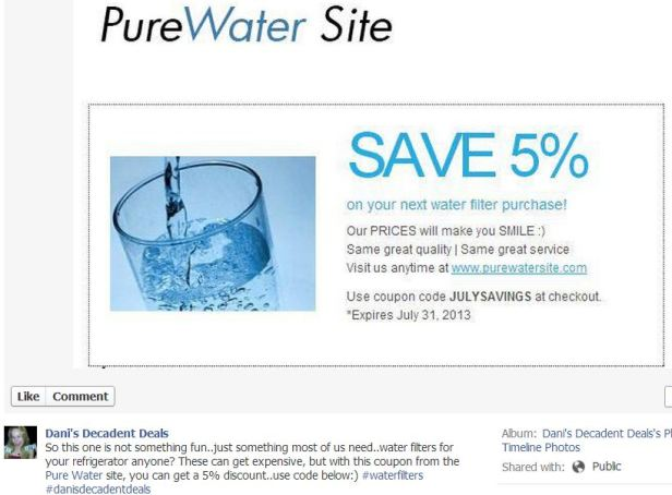 Pure water Site - 5% off of water Filters Through 7-31