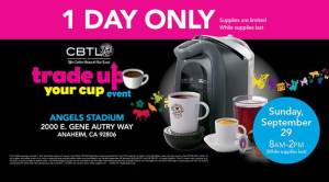 Coffee Bean and Tea leaf, Free coffeepot, trade your cup, cbtl, free milk frother, anaheim stadium