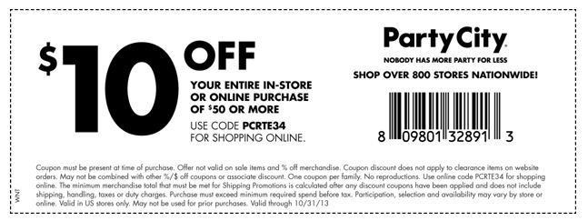 Party City offers amazing savings on your favorite costumes and party supplies. The online store offers seasonal promotions and coupons such as 50% off selected items and costumes for Halloween. There are also weekly online ads that offer great discounts on many Party City items. Online promotions at Party City also include exclusive offers such as $10 off all orders above $