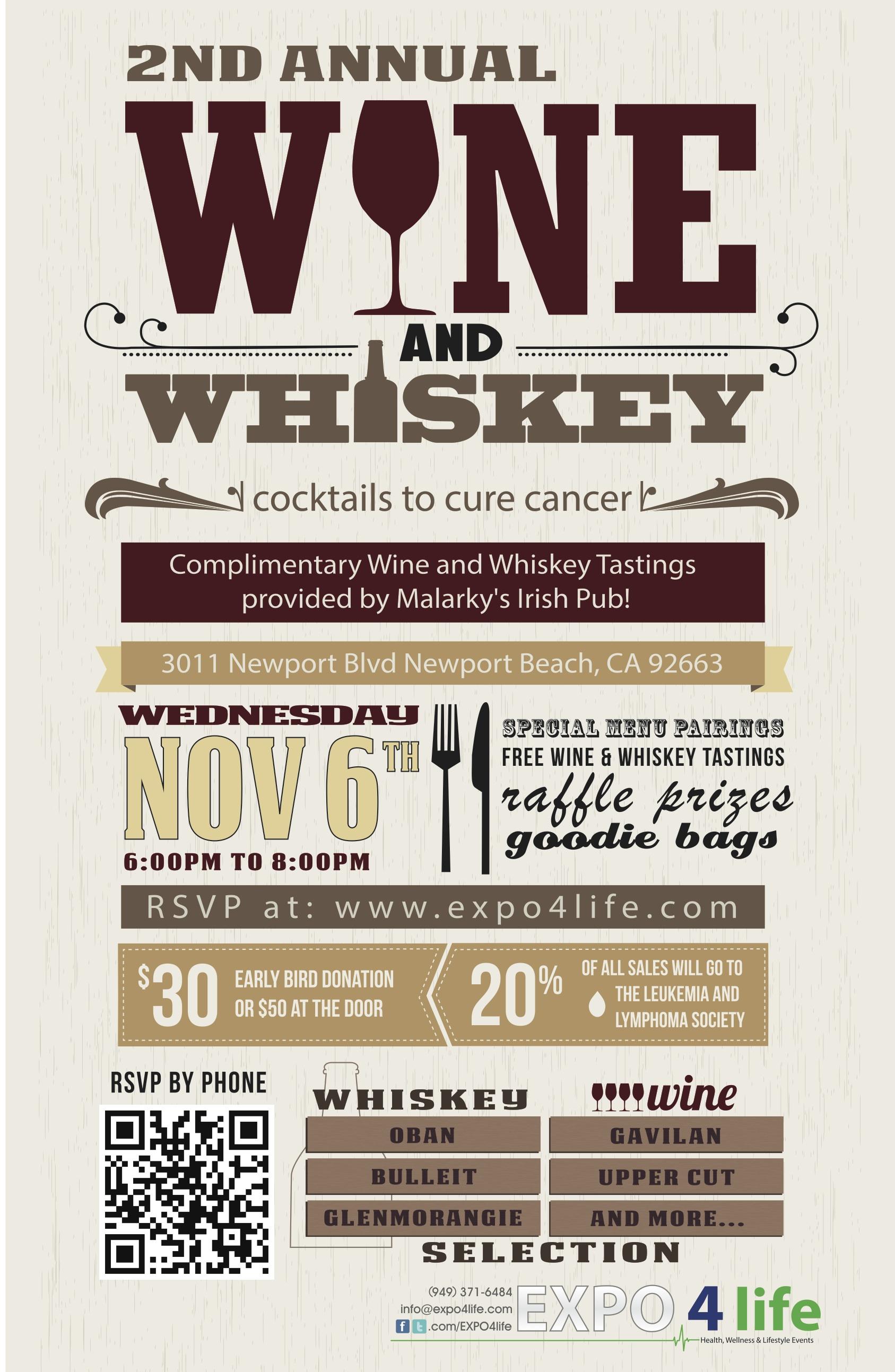 wine and whiskey, expo 4 life, newport beach, malarky's