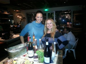 Dani and Laurie making Wine Based cocktails