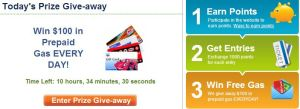 Daily Prize Giveaways - Photo from Gas Buddy Site